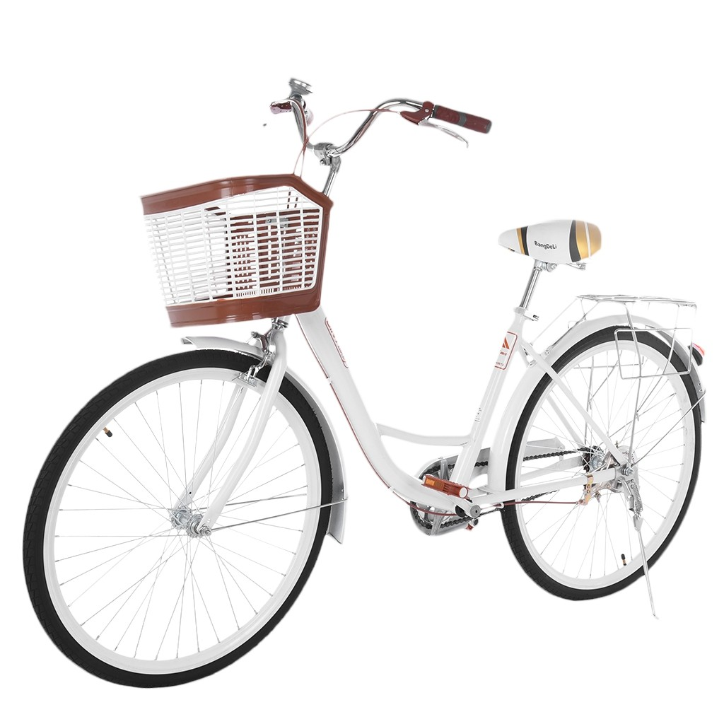 26 Inch Womens Classic Bicycle Retro Beach Cruiser Bicycle Coffee Commuter Cycle