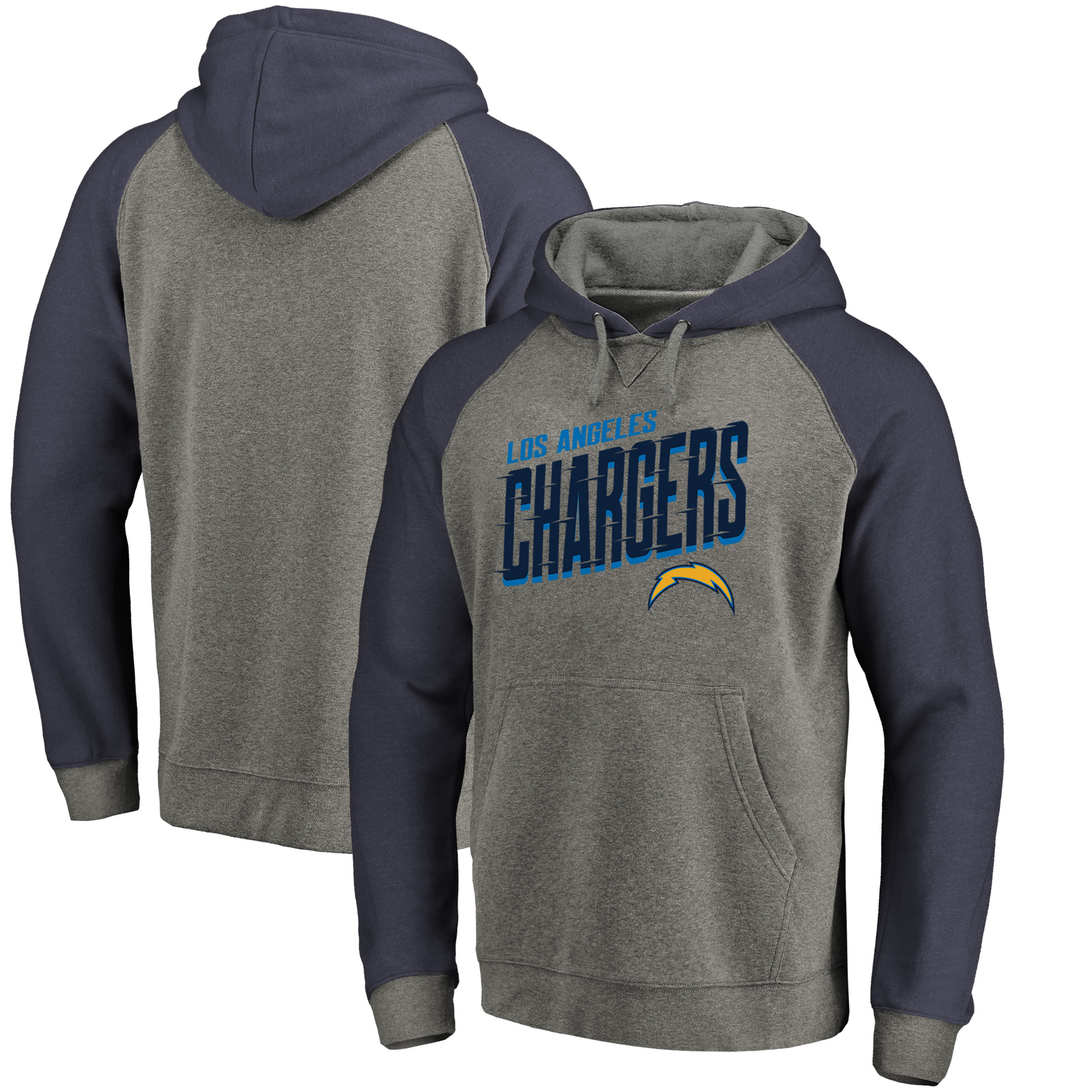 Los Angeles Chargers NFL Pro Line by Fanatics Branded Slant Strike Tri-Blend Raglan Pullover Hoodie - Heathered Gray