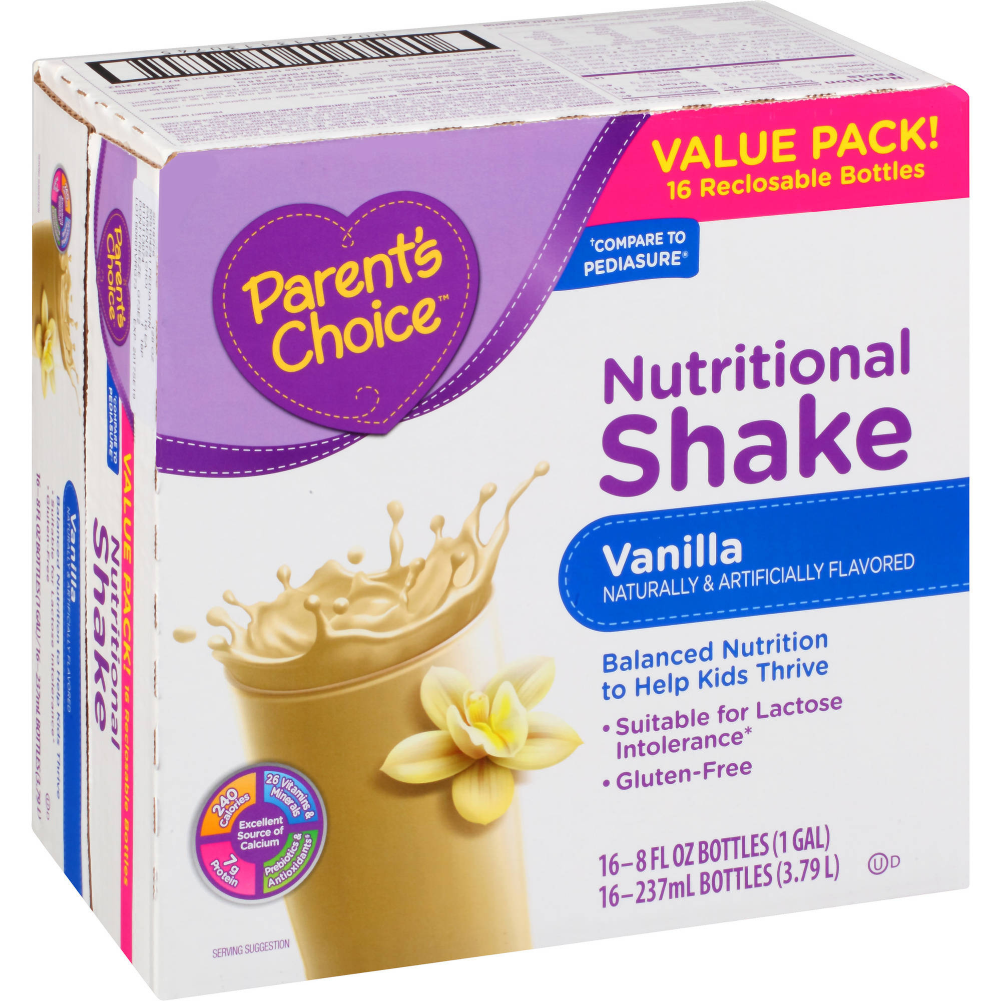 Parent's Choice Vanilla Nutritional Shakes, 8 fl oz, 16 count
