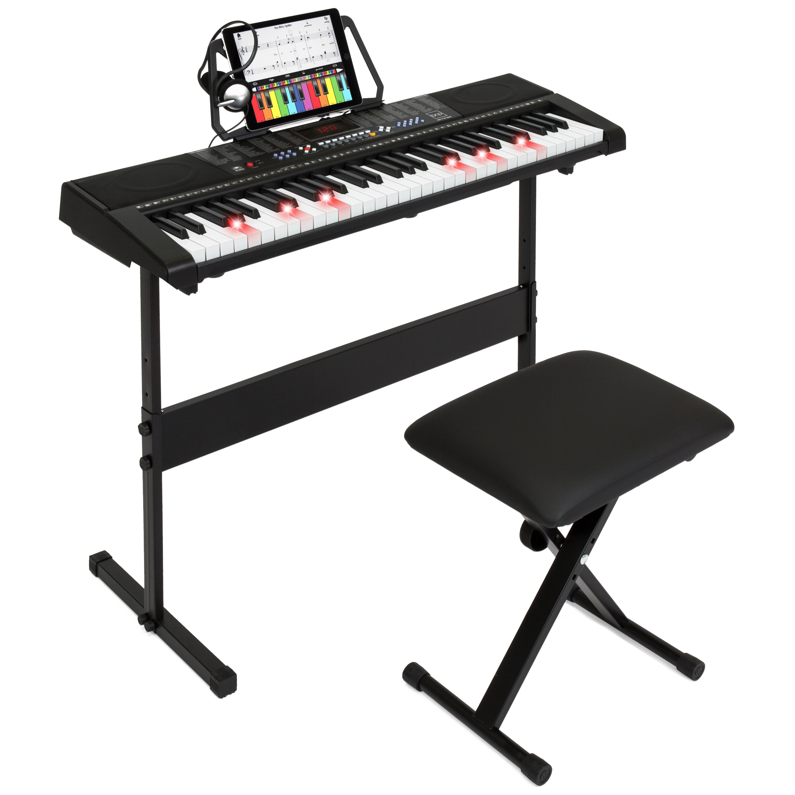 Best Choice Products 61-Key Electronic Keyboard w/ Light-Up Keys, 3 Teaching Modes,  H-Stand, Stool, Headphones