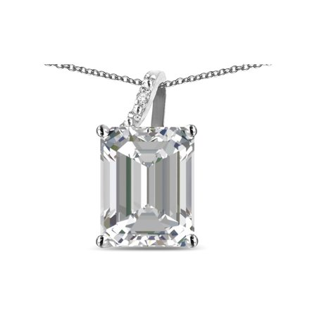 Star K Large 10x8 Octagon Emerald Cut Genuine White Topaz Pendant (Diamond Cut Star Pendant)