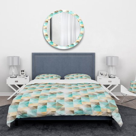 DESIGN ART Designart '3D Illusion of Geometric Squaresf' Abstract Bedding Set - Duvet Cover & Shams