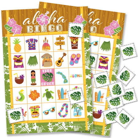 Hawaiian Luau Party Bingo Game 24 Players - Tropical Tiki Luau Birthday Party Supplies - 24 Bingo Cards with Chips - 1st Birthday Games