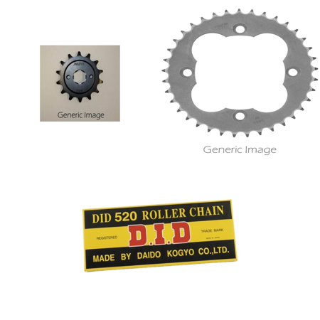 520 Standard Chain Natural, Front & Rear Sprocket Kit for HONDA ATC250R 1986