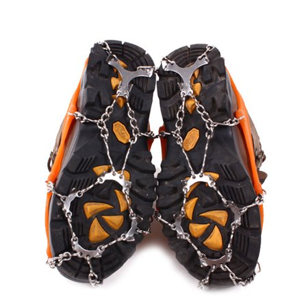 - 12-Stud Steel Chain Footwear Nonslip Spikes Slip-on Stretch Crampons Ice and Snow Grips Color:Black Size:M