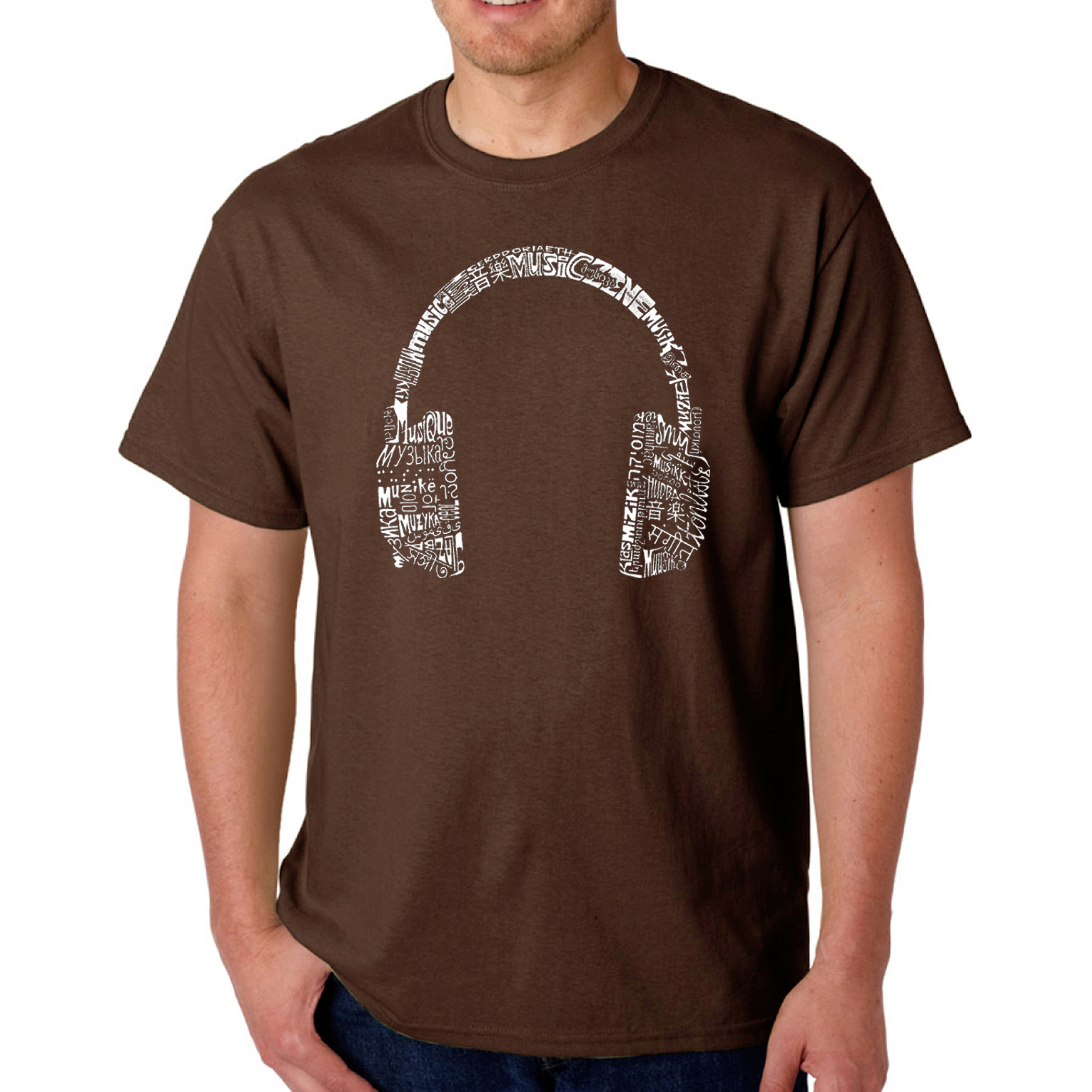 Los Angeles Pop Art Men's T-shirt - Headphones - Languages