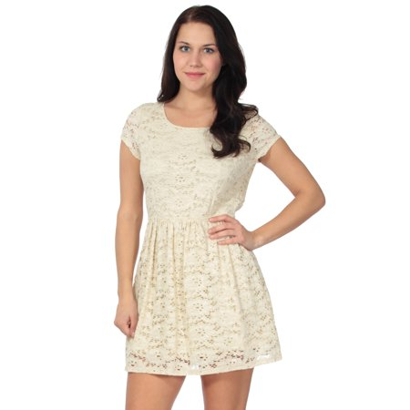 Retrochic Lace Dress w/Short Sleeves and Open Back, Ivory S (Retro-chic)