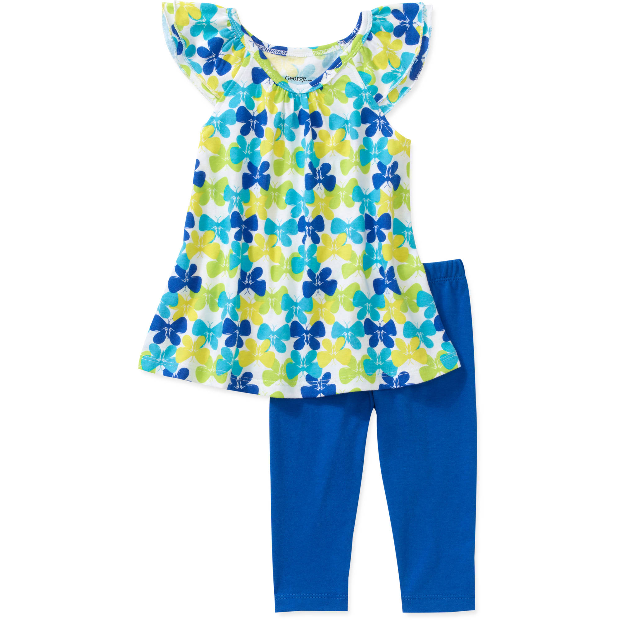 George Girl 2 Piece Flutter Sleeve Butterfly Tunic and Pant Set