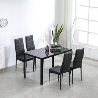 Ktaxon 5 Piece Kitchen Dining Table Set with Glass Table Top 4 Chairs and Metal Frame Table for Breakfast Dining Room Kitchen Furniture