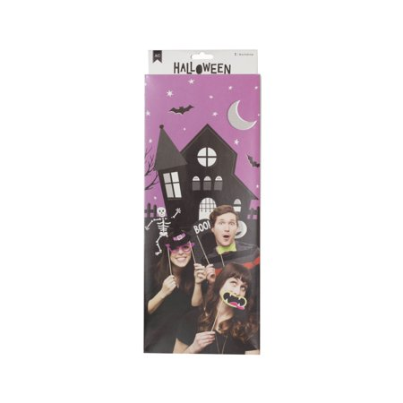 Halloween Theme Party Music (American Crafts Halloween Photo Booth Backdrop - Purple/Black Background - Party Favors Supply and)