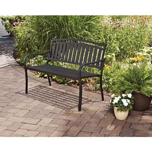Mainstays Slat Garden Bench Black Walmart Com