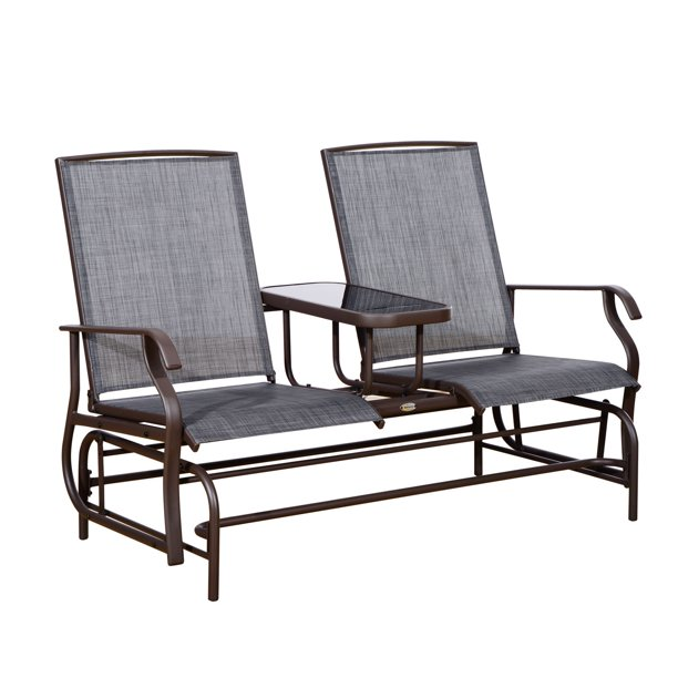 Mesh Fabric Patio Double Glider Chair
