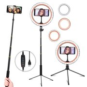 """10"""" Selfie Ring Light with Tripod Stand & Cell Phone Holder for Live Stream/Makeup, Dimmable Led Camera Ring Light for YouTube Video/Photography Compatible with iPhone & Android Phones (Upgraded)"""