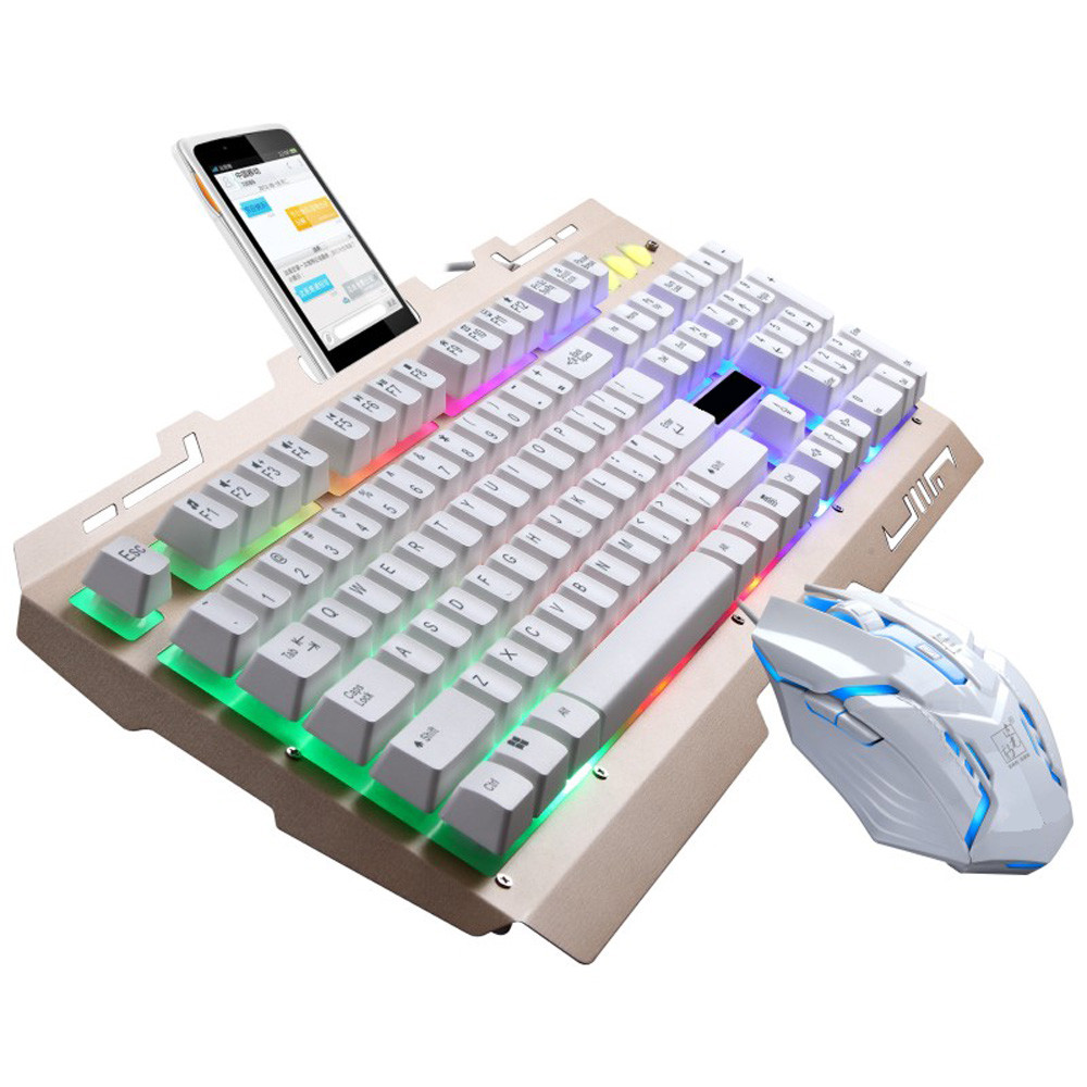 DZT1968® G700 LED Rainbow Color Backlight Gaming Game USB Wired Keyboard Mouse Set LOL