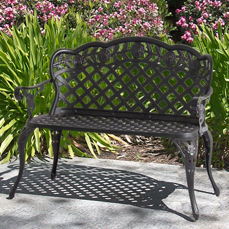 Best Choice Products Aluminum 2-Person Bench Decor Furniture for Patio, Garden, Yard w/ Lattice Backrest and Seat, Rose Detailing - Bronze (Bench Garden Decor)