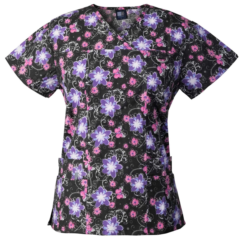 Medgear Womens Printed Scrub Top, ID loop & 4 Pockets Fashion Medical Uniform 1039P-FPLB