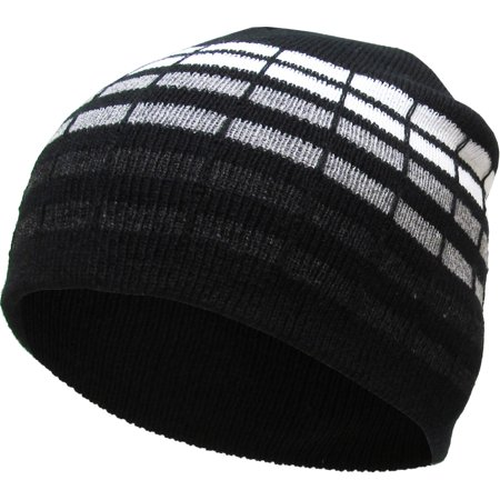 Black Dotted Stripes Short Beanie Skull Cap Solid Color Men Women Winter Ski (Skull Embroidered Hat)