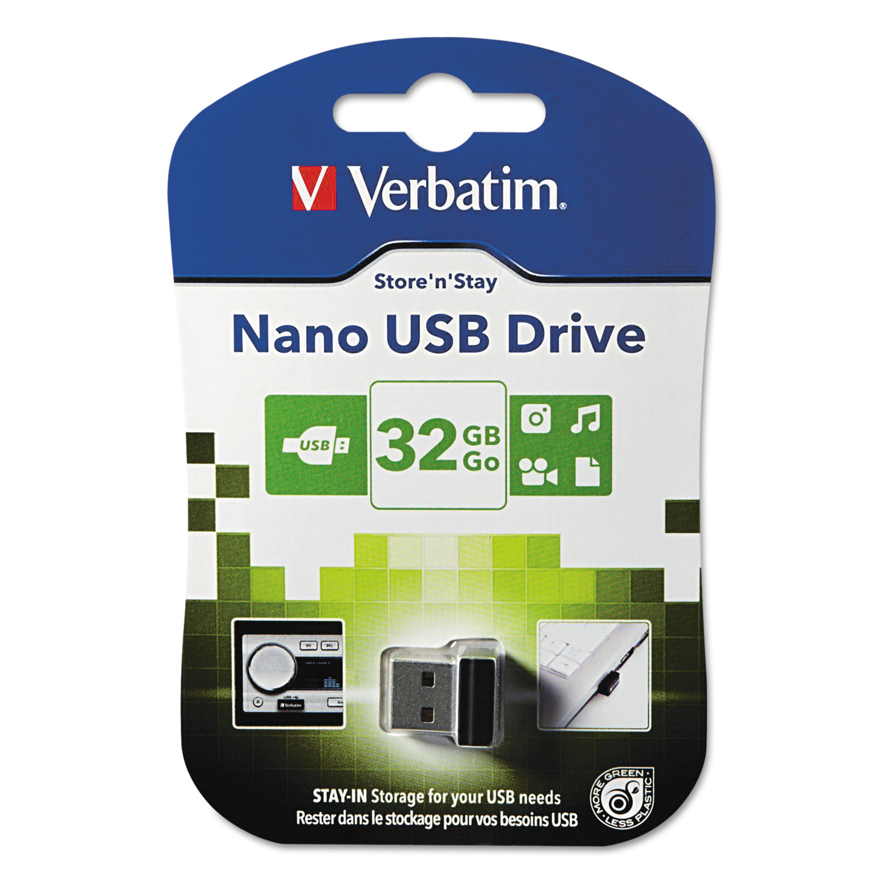 Verbatim Store 'n' Stay Nano USB Flash Drive, 32 GB, Black -VER98130