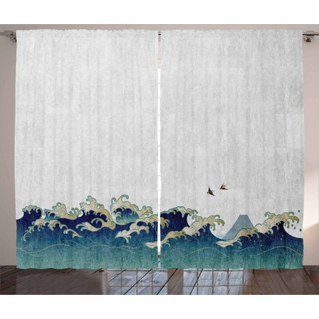 Japanese Wave Curtains 2 Panels Set, Aquatic Swirls Flying Birds of Ocean Ukiyo-e Style Artwork Grunge Print, Window Drapes for Living Room Bedroom, 108W X 90L Inches, Grey Blue Cream, by Ambesonne ()