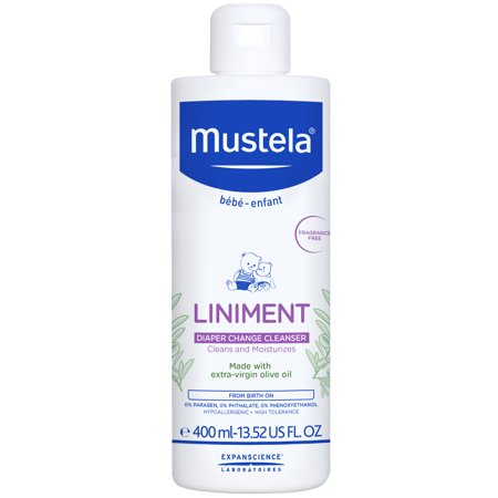 Mustela Baby Liniment, Natural No-Rinse Baby Cleanser for Diaper Change, with Olive Oil, 13.52 Fl. Oz. (Olive Baby)
