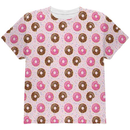 Frosted Donut Sprinkles Food Repeat Pattern All Over Youth T -