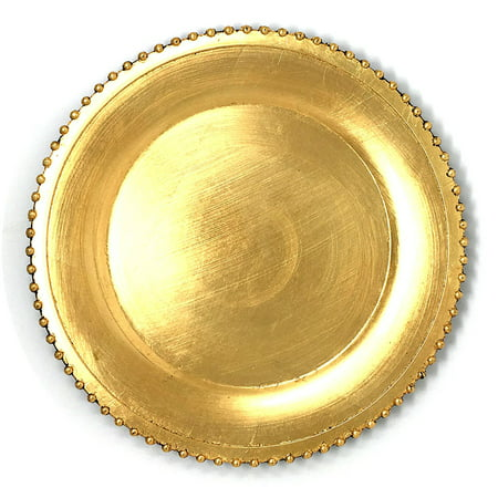 (Elegant Weaving Gold Pressed Beaded Rim Design Round Charger Plates Dinnerware Holiday Decor Accent Plates Gold Pressed Finish 13 inch (4))