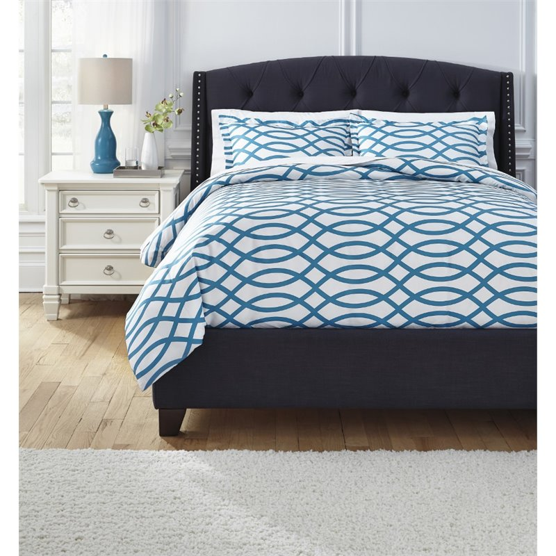 Ashley Leander Queen Duvet Cover Set in Turquoise