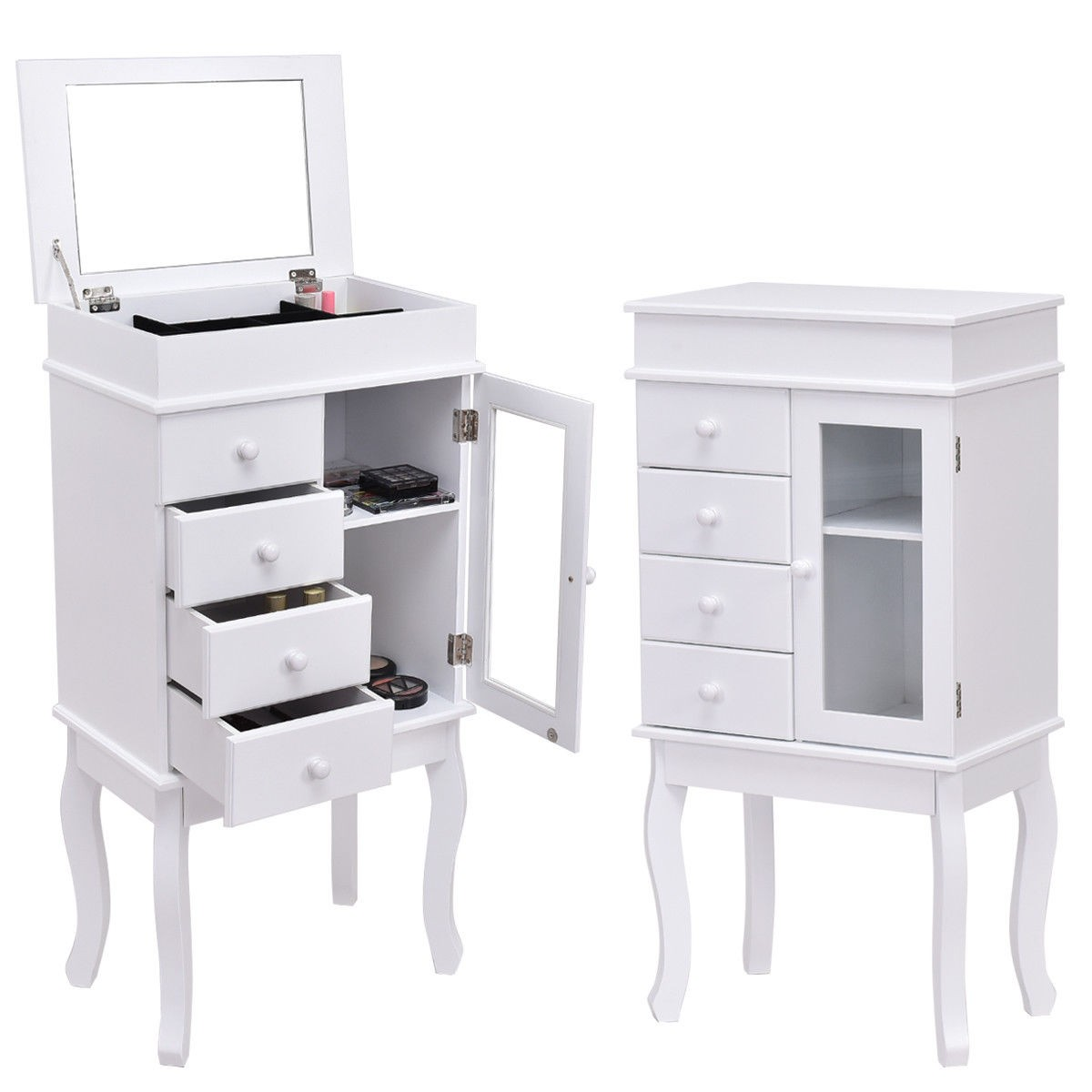 Wood Standing Mirrored Jewelry Armoire Storage Cabinet