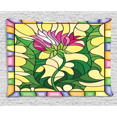 Thistle Tapestry, Colorful Stained Glass Style Flower Motif of Pink Thistle Figure Framed Design, Wall Hanging for Bedroom Living Room Dorm Decor, 80W X 60L Inches, Multicolor, by (Quoizel Stained Glass Tapestry)