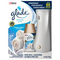 Glade Automatic Spray 1 Warmer + 1 CT Refill Starter Kit, Clean Linen, 6.2 OZ. Total, Air Freshener Infused with Essential Oils