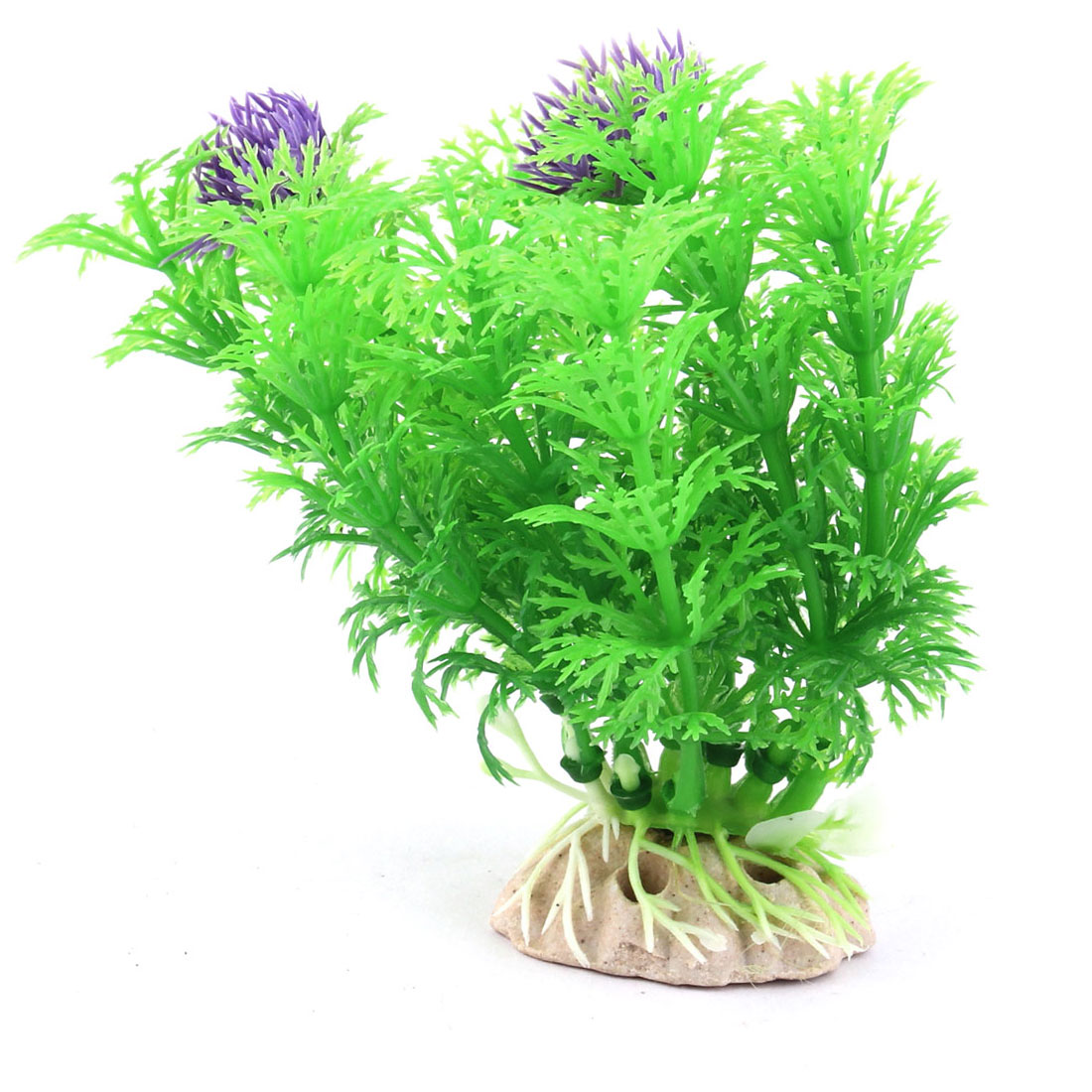 Aquarium Fish Bowl Ceramic Base Plastic Underwater Plant Grass Landscaping Green