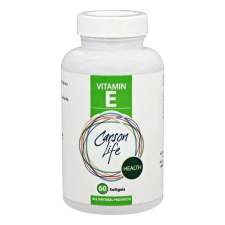 CARSON LIFE Santé Vitamine E Compléments alimentaires Gélules, 60 count