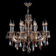 Worldwide Lighting W83121C20 Polished Chrome / Amber Catherine 6 Light 1 Tier Candle Style