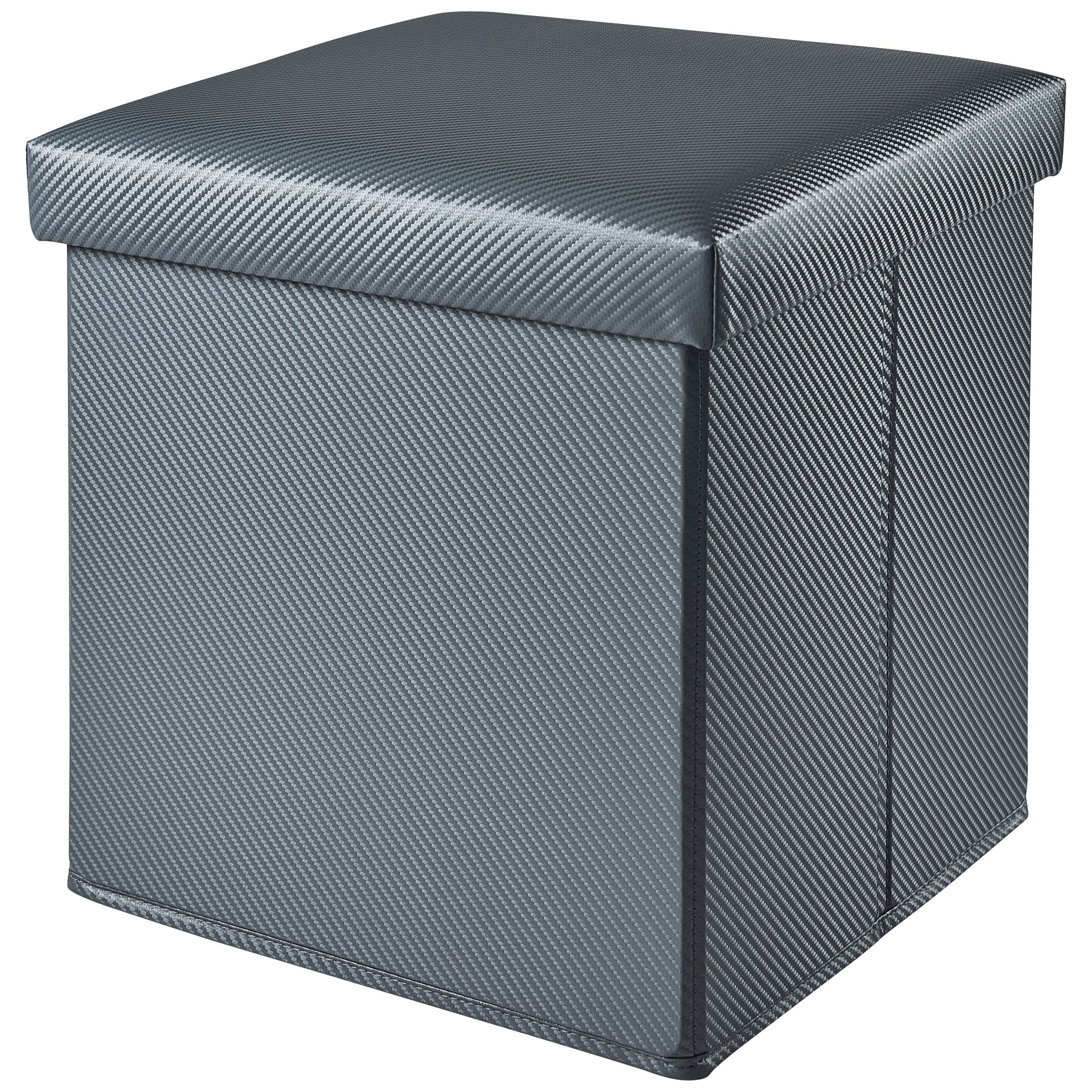 Mainstays Collapsible Storage Ottoman, Carbon White