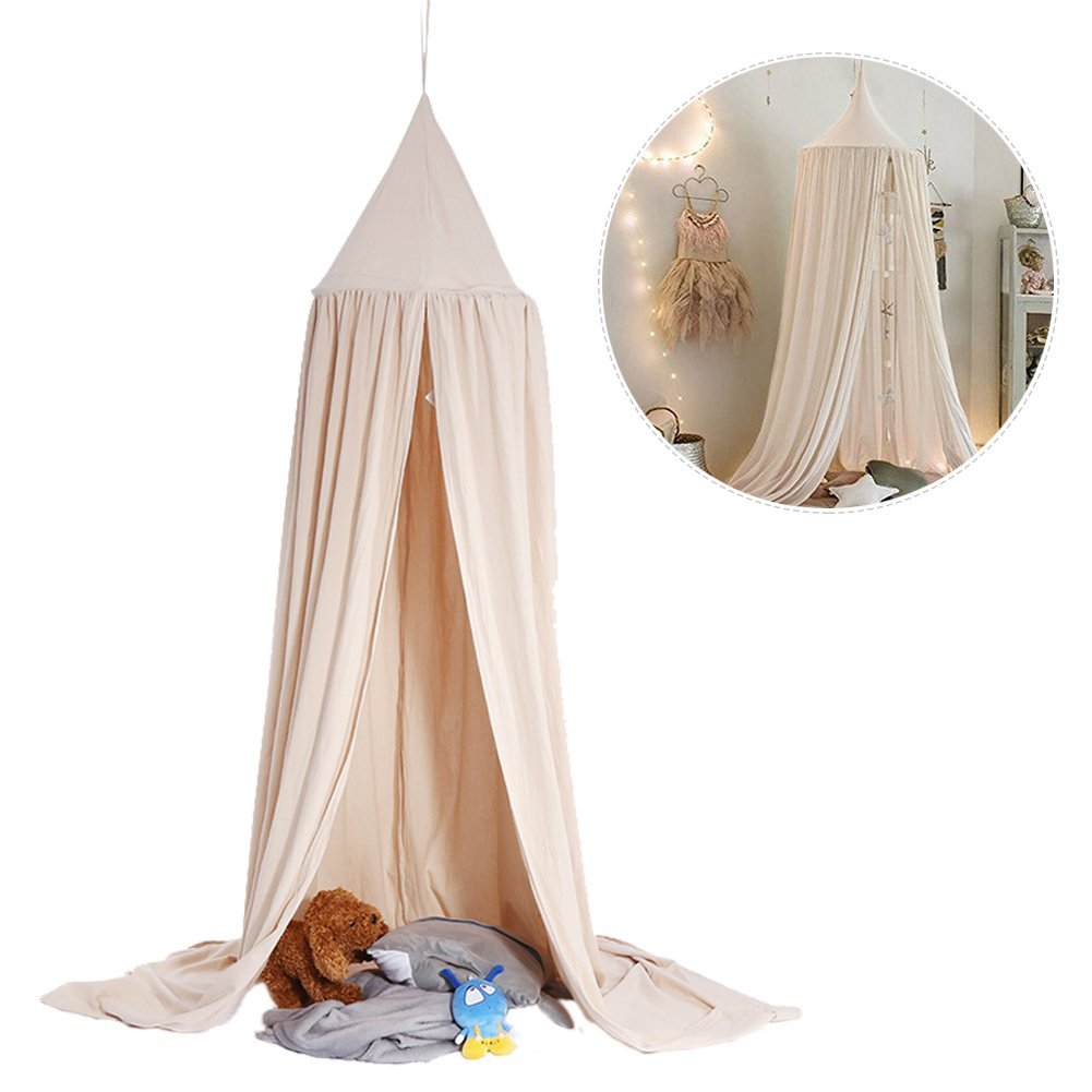 Mosquito Net Canopy,Dome Princess Bed Cotton Cloth Tents Childrens Room Decorate for Baby Kids Reading Play Indoor Games House