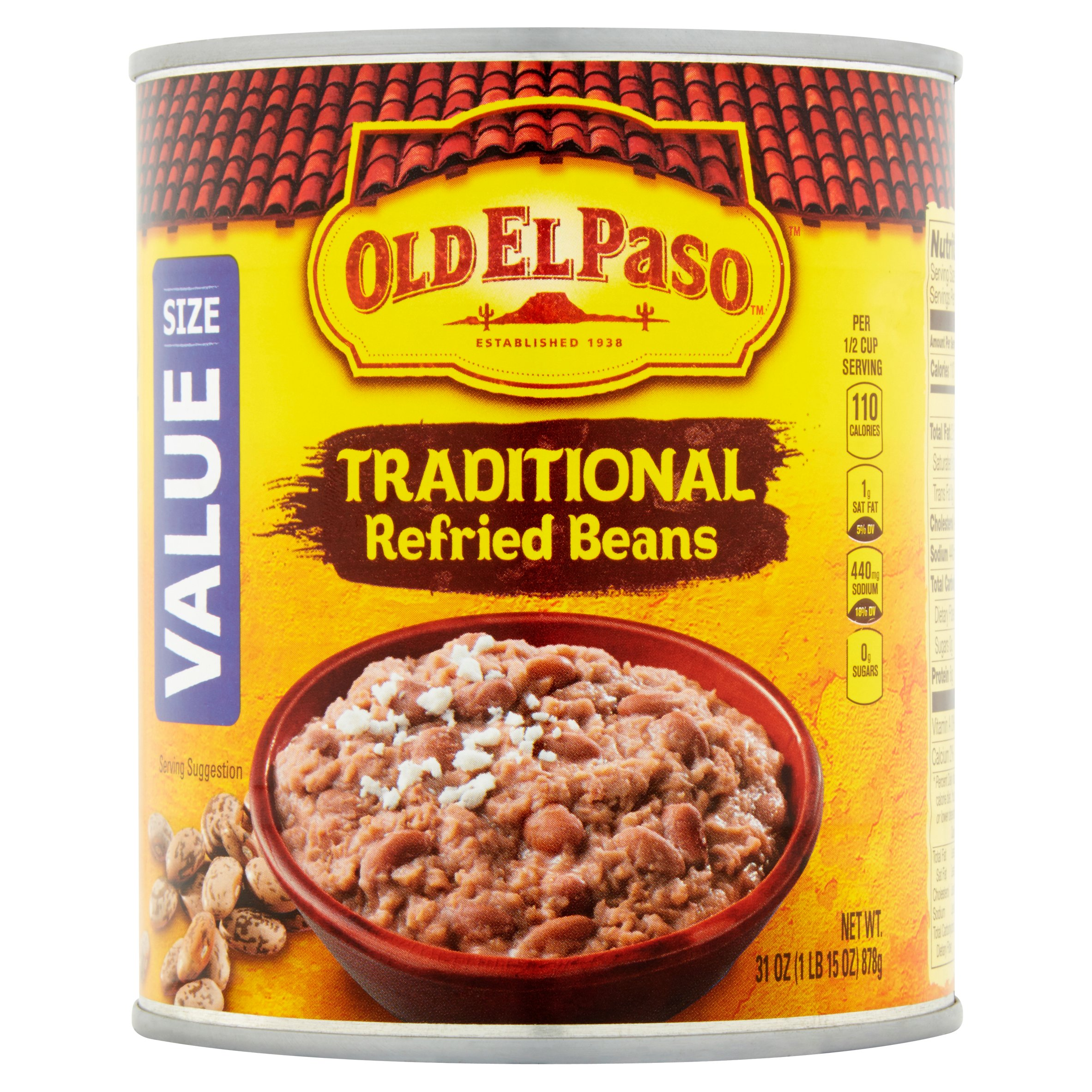 Old El Paso Traditional Refried Beans 31 oz Can