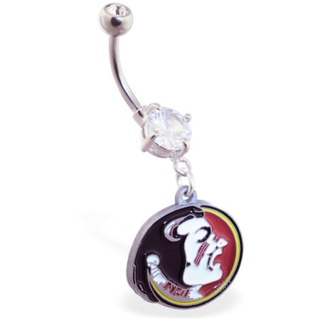 Mspiercing Belly Ring With Official Licensed NCAA Charm, Florida State Seminoles