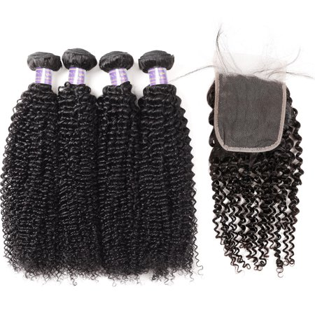 Allove Brazilian Hair Extensions 4pcs with Lace Closure Kinky Curly Hair Bundles with Closure, 22