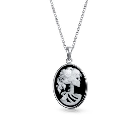 (Classic Black White Oval Shape Female Lolita Skelton Cameo Pendant Bezel Set 925 Sterling Silver 18 inch)