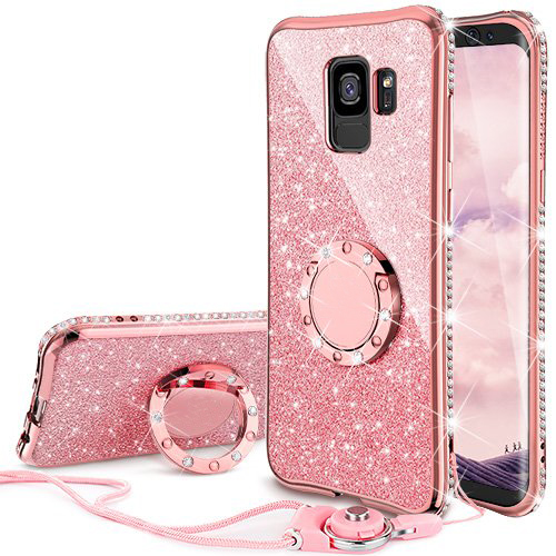 Galaxy S9 Case, Glitter Bling Diamond Rhinestone Bumper Cute Galaxy S9 Phone Case for Girls with Ring Kickstand Sparkly Protective Samsung Galaxy S9 Case for Girl Women -Rose Gold
