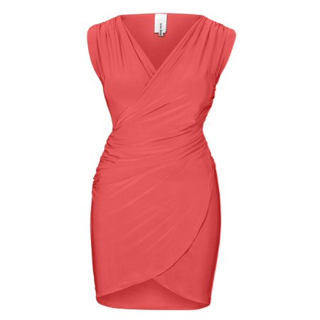 Print Surplice Dress - Made by Olivia Women's Sexy Surplice Sleeveless V-Neck Shirred Drape Dress- Made In USA Coral L
