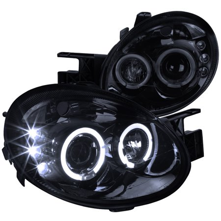 Spec-D Tuning 2003-2005 Dodge Neon Led Dual Halo Projector Headlights 2003 2004 2005 (Left + Right) Dodge Neon Headlamp Assembly