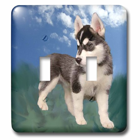 Siberian Husky Light Switch Covers (3dRose Siberian Husky Puppy - Double Toggle Switch)