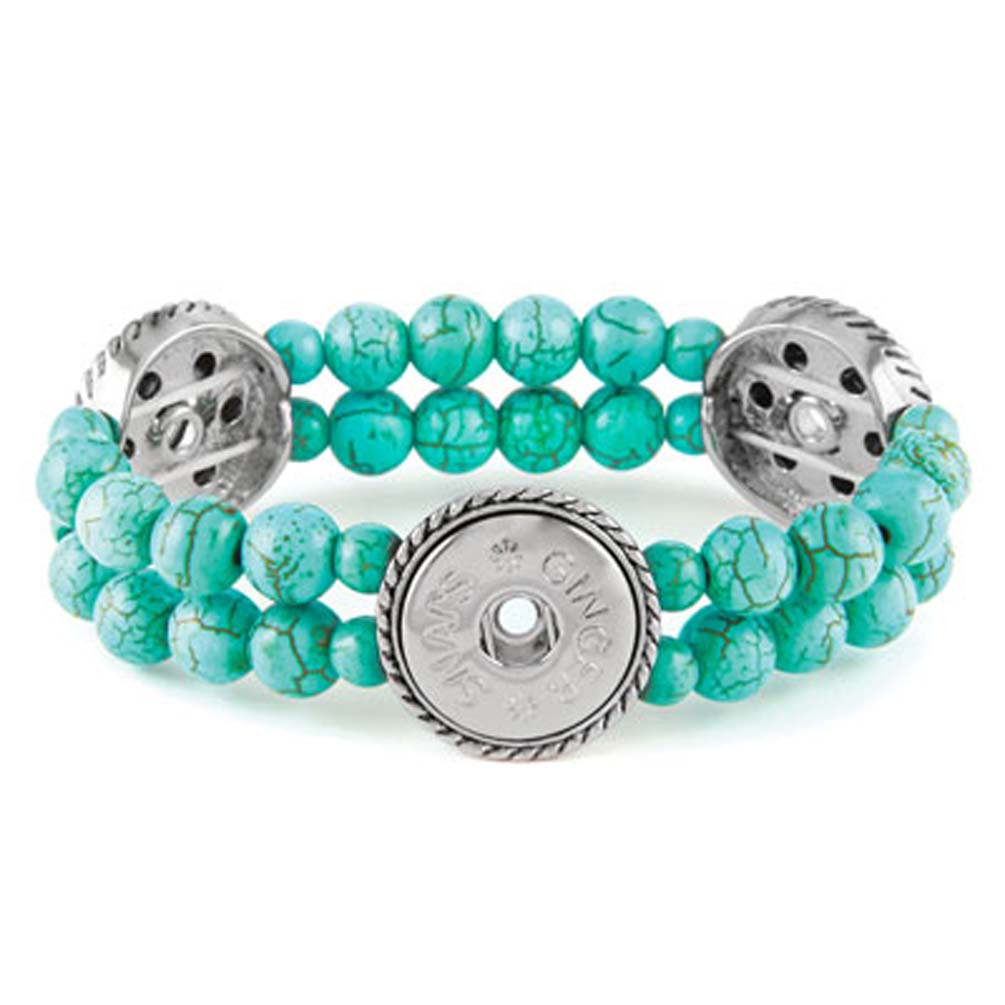 Ginger Snaps 3 Stretch Turquoise Bracelet SN92-23