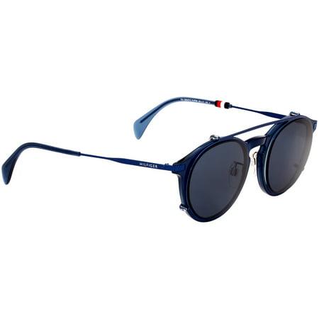 Best Tommy Hilfiger Panto Blue Metal Frame Blue Lens Unisex Sunglasses TH1504FC0PJP99502 deal