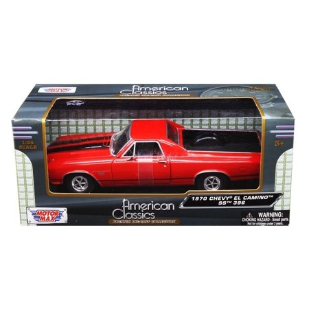 - 1970 El Camino SS 396 Red 1/24 by Motormax 79347, Brand new box. Rubber tires. Made of diecast with some plastic parts. Detailed interior, exterior. Dimensions.., By Chevrolet