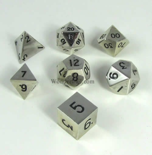 Silver Color Solid Metal Dice Polyhedral 7-Dice Set 16mm Metallic Dice Games