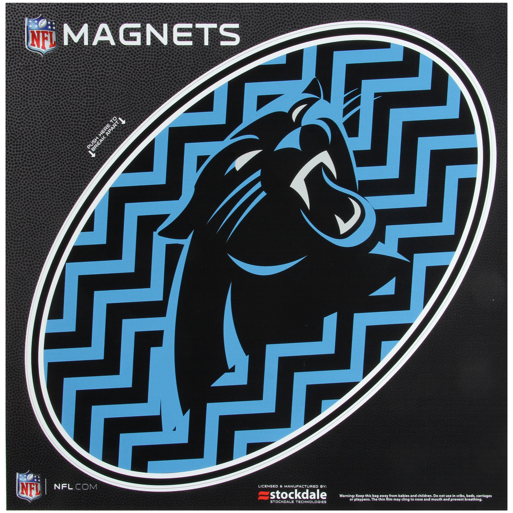 """Carolina Panthers Chevron 12"""" x 12"""" Oval Full Color Magnet - No Size"""