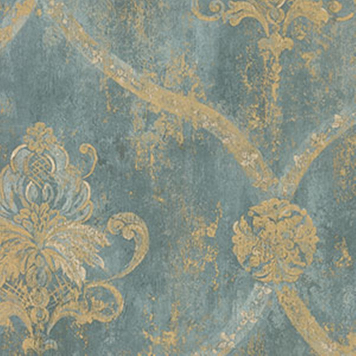 Wallpaper French Faux Aqua Blue Large Damask With Gold By First Quality New Pre Pasted Vinyl Norwall From USA