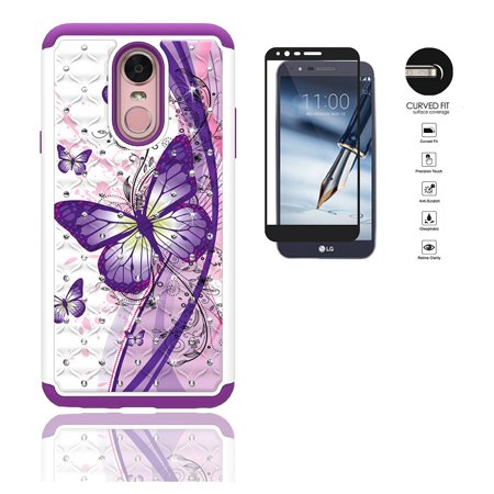 Phone Case for LG Stylo 4, LG Stylus 4, Studded Rhinestone Diamond Bling Cover Case + Tempered Glass Screen Protector (White-Purple Buttefly)